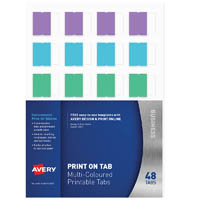 AVERY 5412501 L7431 PRINT ON TABS MULTI COLOURED PACK 48
